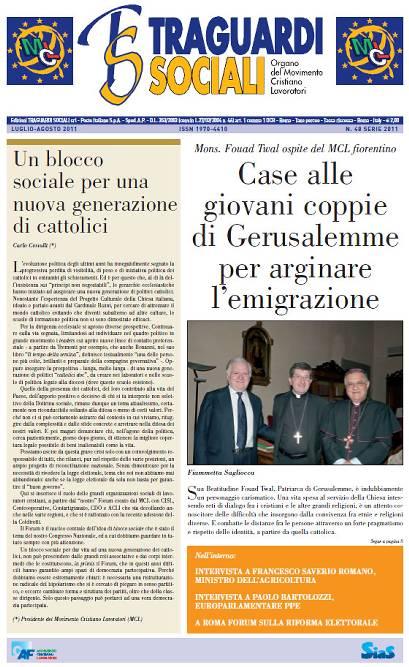TRAGUARDI SOCIALI / n.48 Luglio / Agosto 2011 :: Un blocco sociale per una nuova generazione di cattolici